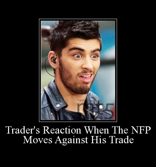 Trader's Reaction When The NFP Moves Against His Trade