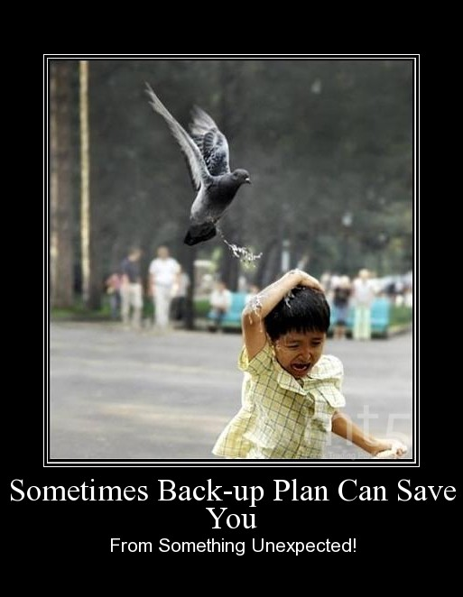 Sometimes Back-up Plan Can Save You