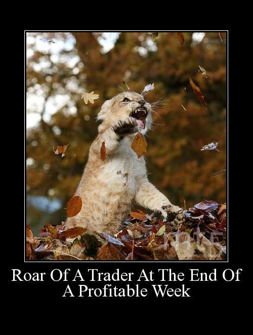 Roar Of A Trader At The End Of A Profitable Week