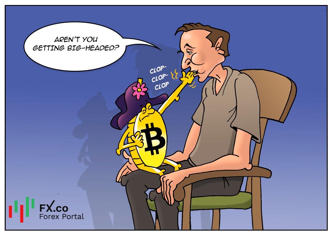 Bitcoin menurun setelah Elon Musk menyiarkan harganya yang terlebih tinggi