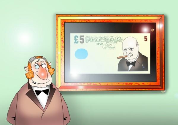 На пятифунтовых банкнотах изобразят Уинстона Черчилля