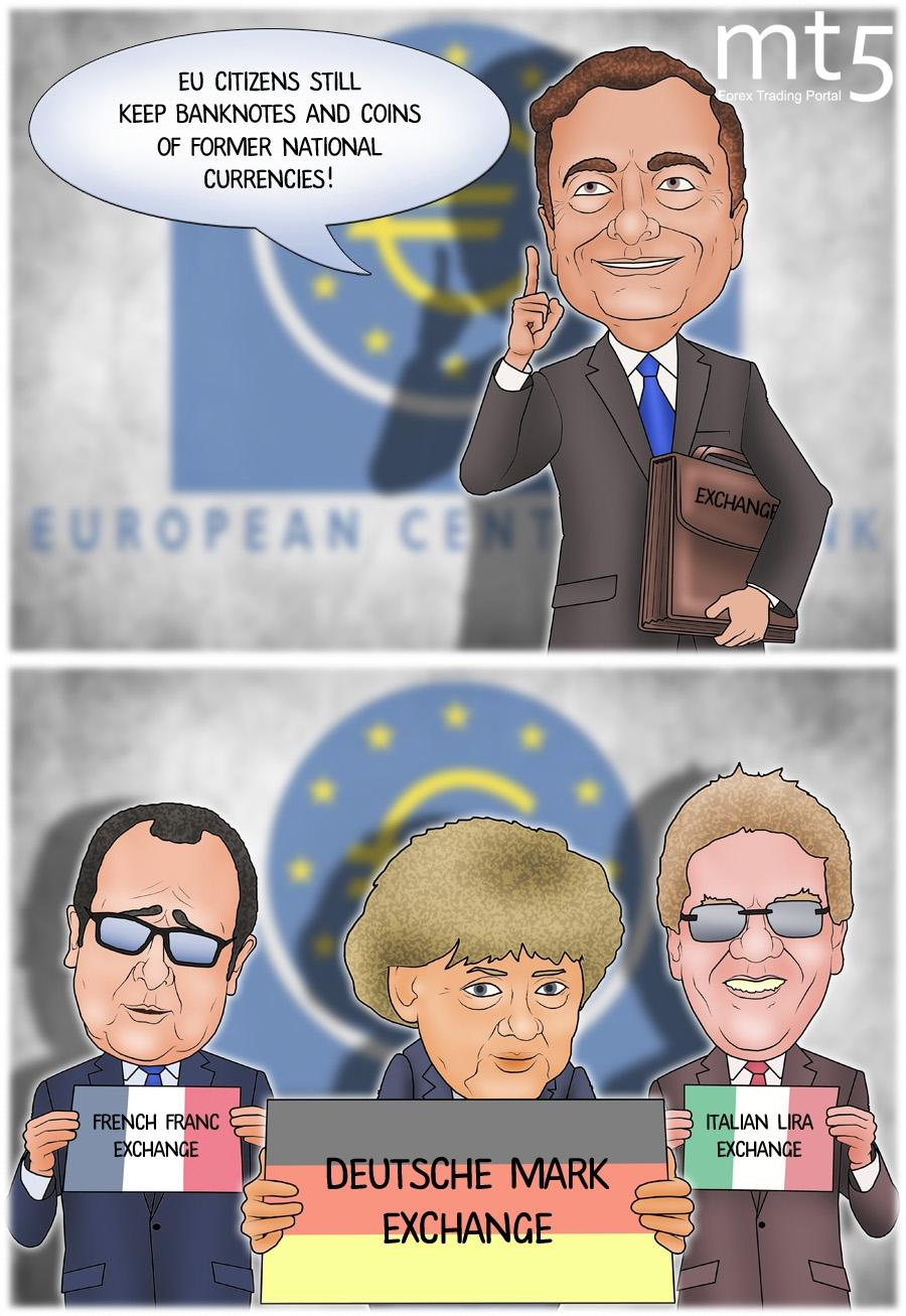 Warga Eropa menyimpan 15 miliar euro dalam bentuk mata uang lama