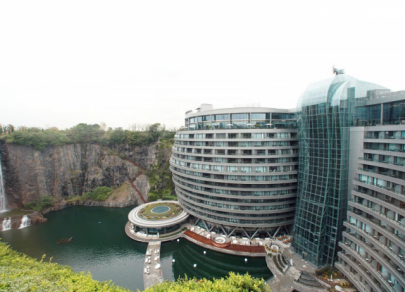 Five-star hotel opens in once-abandoned quarry in China